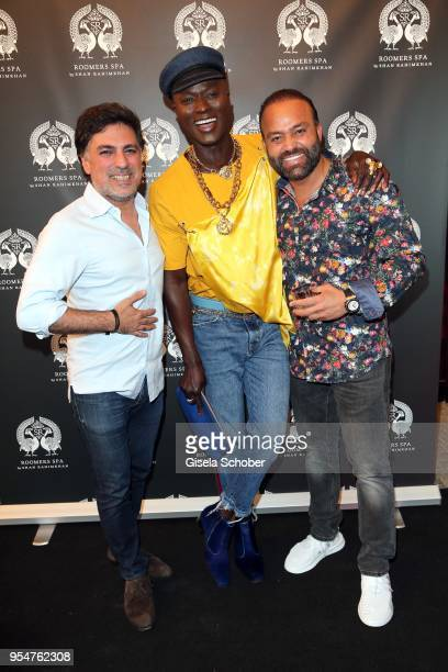 Hairstylist Shan Rahimkan, Papis Loveday and Bardia Torabi, General Manager Roomers Munich during the Grand Opening of Roomers Spa by Shan Rahimkhan...