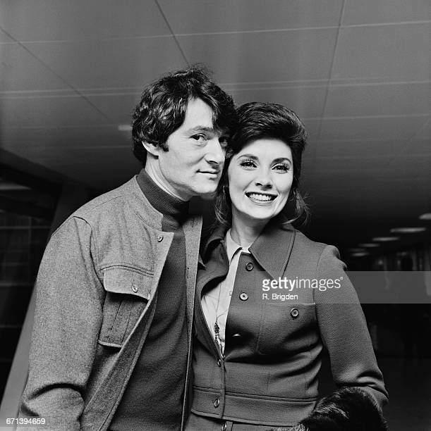 Hairstylist Vidal Sassoon with his wife Beverly Adams at London Airport UK 4th December 1971