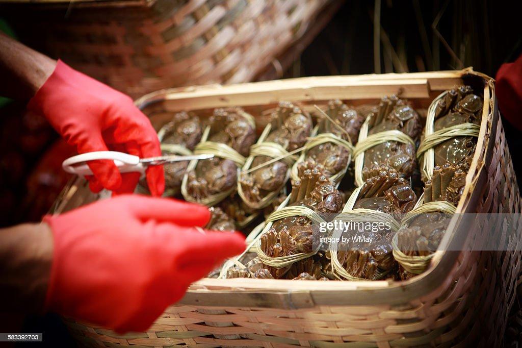 Hairy crab season, Hong Kong : Stock Photo