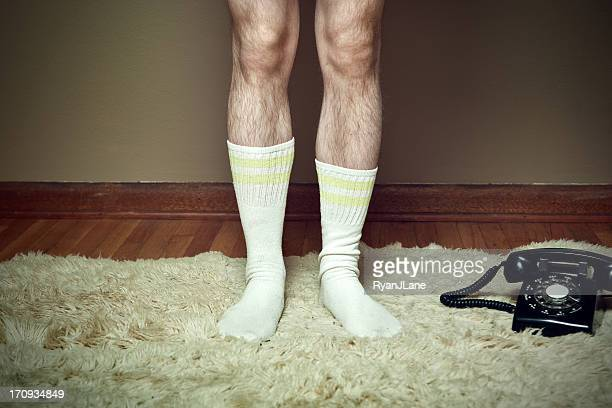 Hairy Legs on Shag Rug with Phone