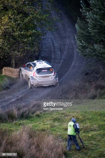 Hairy moment for a WRC2 team as they compete during the Lake Brenig stage of the Rally GB round of the 2017 FIA World Rally Championship on October...