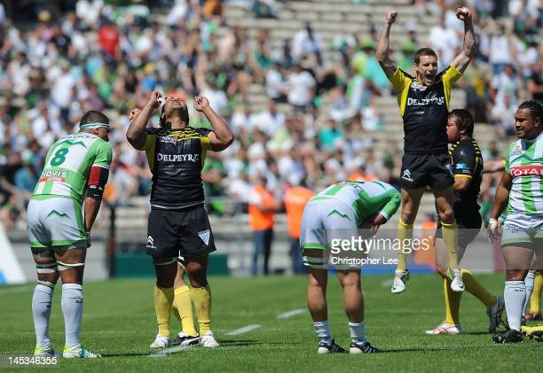 Haisini Taulanga of MontdeMarsan celebrates their victory during the Pro Div 2 Finale 2012 between Section Paloise and Stade Montois Rugby at the...
