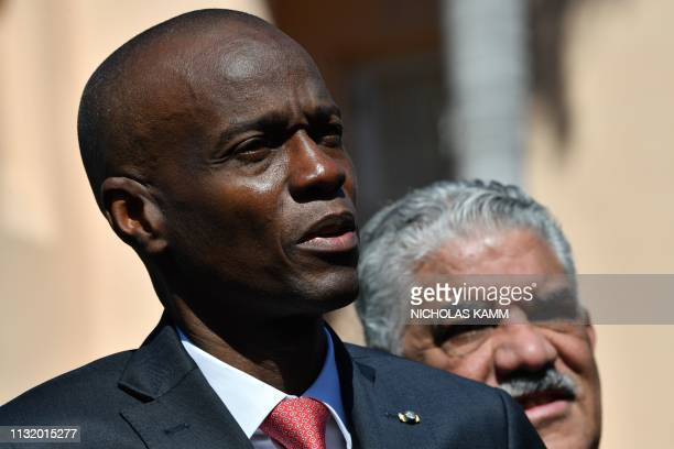Haitain President Jovenel Moïse speaks to the press after meeting US President Donald Trump during an event with Caribbean leaders hosted by Trump at...