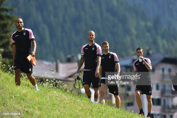 Haitam Aleesami Aljaz Struna Slobodan Rajkovic and Alessandro Salvi look on during a training session at the US Citta' di Palermo training camp on...