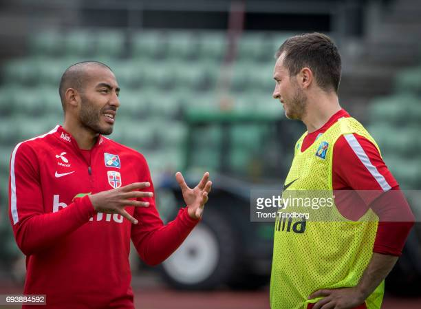 Haitam Aleesami Even Hovland during Norwegian Men Training Session at Ullevaal Stadion on June 6 2017 in Oslo Norway
