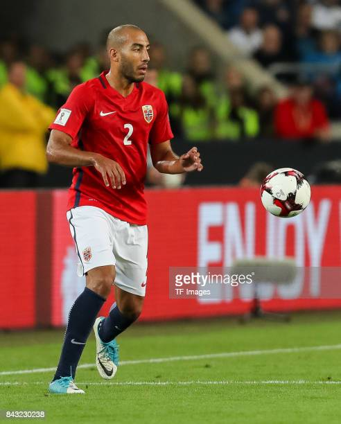 Haitam Aleesami of Norway controls the ball during the FIFA 2018 World Cup Qualifier between Germany and Norway at MercedesBenz Arena on September 4...