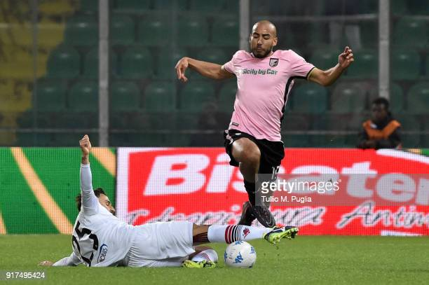 Haitam Aleesami of Palermo in actyion as Alberto Gerbo of Foggia tackles during the Serie B match between US Citta di Palermo and Foggia on February...