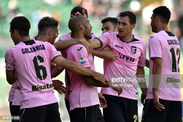 Haitam Alesaami of Palermo is celebrated after scoring his team's second goal during the Serie A match between US Citta di Palermo and ACF Fiorentina...