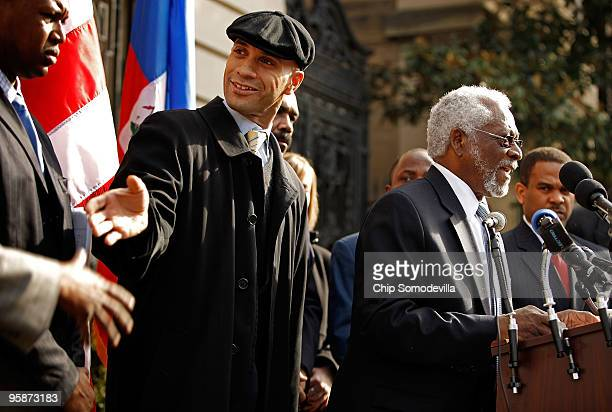 Haitan Ambassador to the United States Raymond Joseph delivers remarks during a news conference with District of Columbia Mayor Adrian Fenty outside...