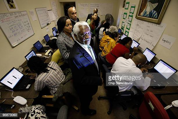 Haitan Ambassador to the United States Raymond Joseph is given a tour of the earthquake response command center by District of Columbia Mayor Adrian...