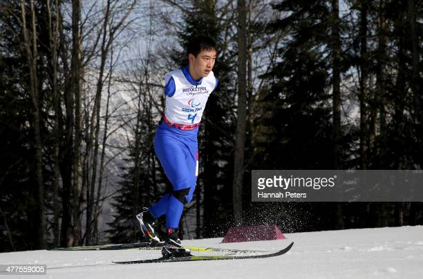 Haitao Du of China in action in the Men's 20km Standing event during day three of Sochi 2014 Paralympic Winter Games at Laura Crosscountry Ski...