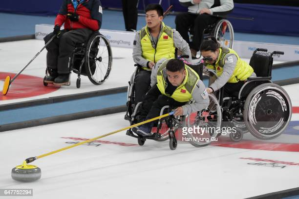 Haitao Wang from China delivers a stone during the World Wheelchair Curling Championship 2017 test event for PyeongChang 2018 Winter Olympic Games at...