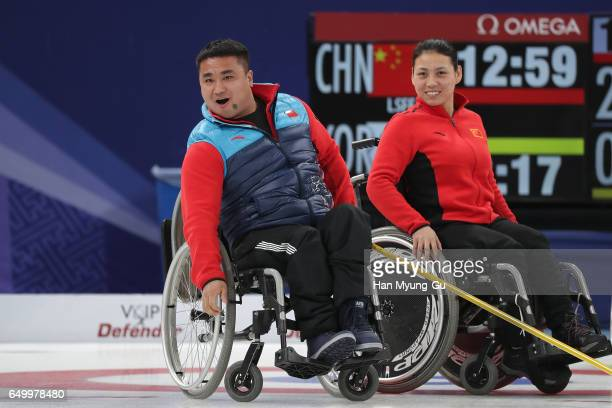 Haitao Wang from China reacts during the World Wheelchair Curling Championship 2017 test event for PyeongChang 2018 Winter Olympic Games at Gangneung...