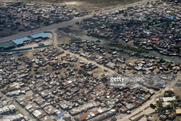 Haiti, Port-au-Prince, Slum of Cite Soleil, arial view