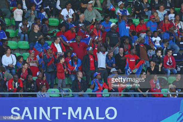 Haiti Supporters enjoy the atmosphere during the FIFA U20 Women's World Cup France 2018 group D match between Haiti and Nigeria at Stade de Marville...