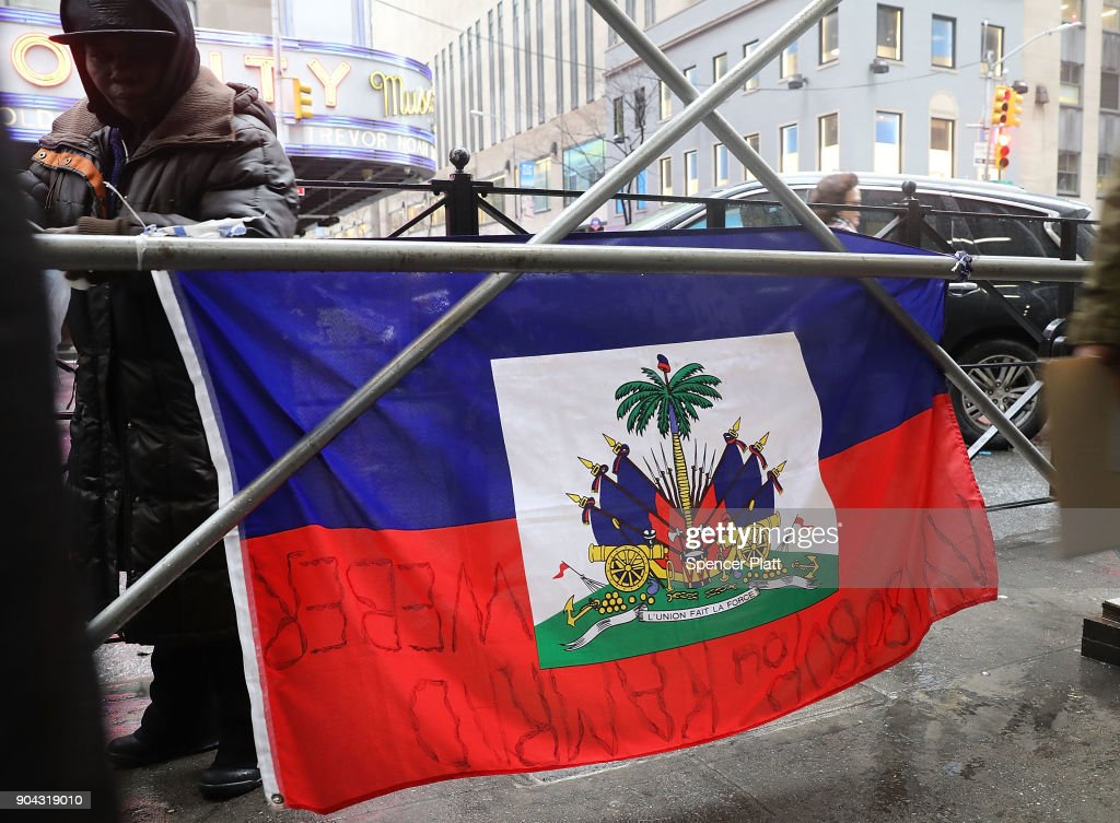 Haitian activists protest in front of the Clinton Foundation on the 8th anniversary of the Haitian earthquake on January 12, 2018 in New York City. The activists claim that the foundation has withheld money raised for victims of the earthquake which killed an estimated 230,000 people. Yesterday President Donald Trump made disparaging remarks about Haiti and African countries.