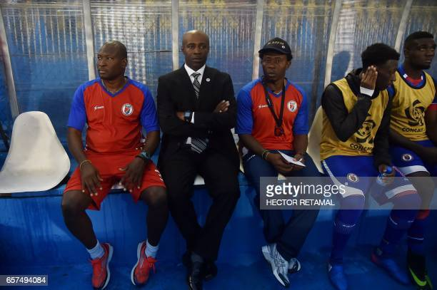 Haitian coach Jean Claude Josaphat sits during the match against Nicaragua the first of two matches to define the last qualified to the 2017 Gold Cup...