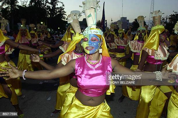 Haitian dancers perform during Carnival festivities on February 23, 2009. Carnival in Haiti concludes on the day of Mardi-Gras, also known as...