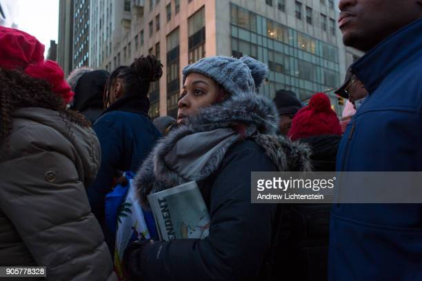 Haitian immigrants mark Martin Luther King Day by attending a rally to protest against President Trump's immigration policies on January 15 2018 in...