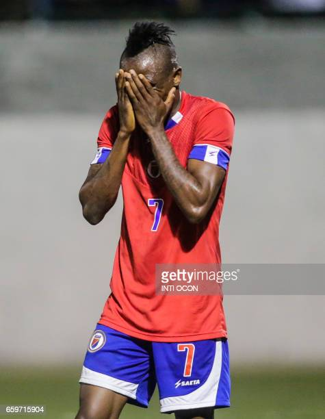 Haitian player Donald Guerrier gestures after recieving thr first goal during the second match of Nicaragua vs Haiti semifinal for the 2017 Gold Cup...