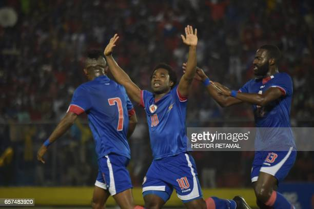 Haitian player Jeff Louis celebrates his goal against Nicaragua during the first of two match to define the last qualified to the 2017 Gold Cup at...