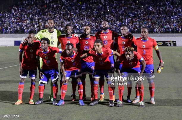 Haitian players pose for a picture before the start of the second match against Nicaragua during the 2017 Gold Cup semifinal at the National Stadium...