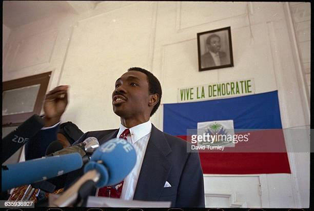Haitian Political Leader Giving a Speech