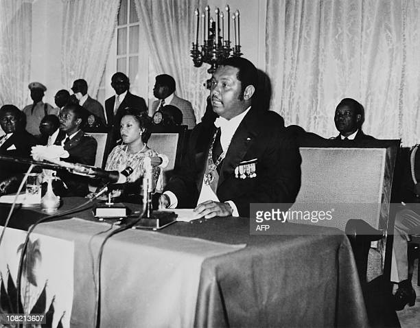 Haitian President Jean-Claude Duvalier, son of former dictator Francois Duvalier, delivers a speech on January 02, 1976 at the presidential Palace in...