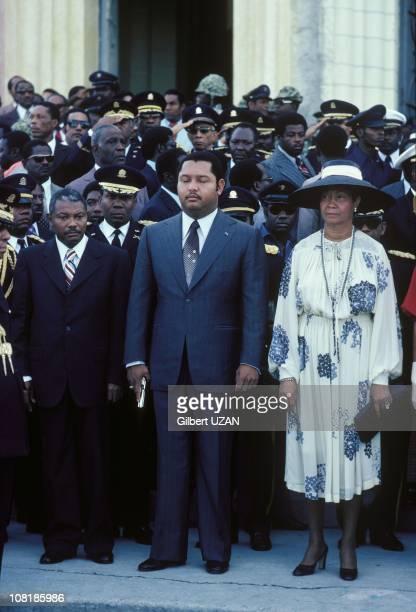Haitian President Jean-Claude Duvalier with a gun in his hand in Haiti.