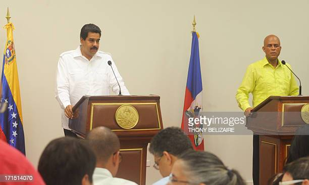 Haitian president Michel Martelly and Venezuelian President Nicolas Maduro talks to the press on June 25 2013 at the presidential palace in...
