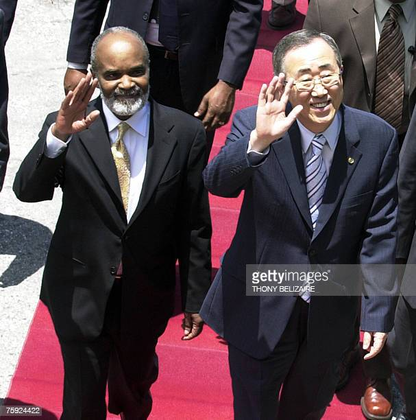 Haitian president Rene Preval and United Nations Secretary General Ban Ki-moon wave 01 August 2007 in Port-au-Prince. Ban Ki-moon is in Haiti for a...