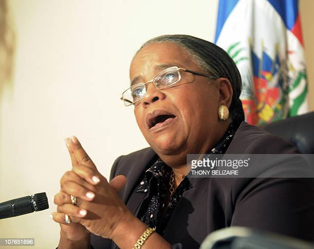 Haitian presidential candidate and former first lady Mirlande Manigat speaks to reporters on December 17 during a press conference in PortauPrince...