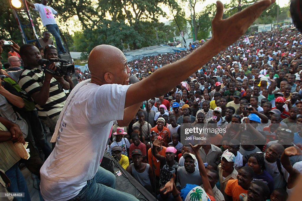 Haitian presidential candidate, Michel Martelly, also known as 'Sweet Micky' , speaks to his supporters during a campaign rally on November 25, 2010 in Port-au-Prince, Haiti. Haiti is suffering a cholera epidemic and faces possible violent outbreaks as they get ready for their November 28th election. Michel Martelly is one of eighteen candidates for the office.