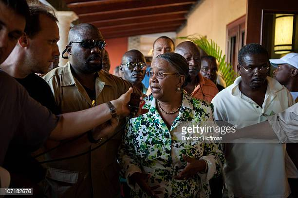 Haitian presidential candidate Mirlande Manigat arrives for a news conference on November 28 2010 in PortauPrince Haiti Following widespread...