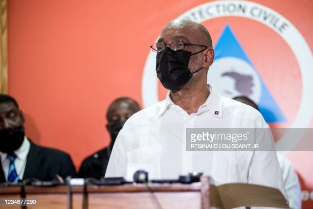Haitian Prime Minister Ariel Henry speaks during a press conference in Port-au-Prince on August 14 after an earthquake struck the southwest peninsula...