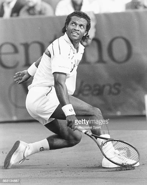 Haitian tennis player Ronald Agenor in action at the Italian Open Tennis Championships in Rome May 1987