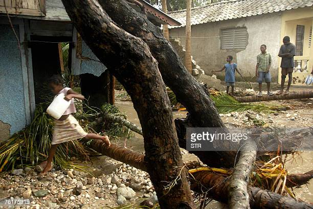 A Haitian woman jumps over tree felled by Hurricane Dean 19 August 2007 in CayesJacmel in south eastern Haiti Two people were killed in Haiti's...
