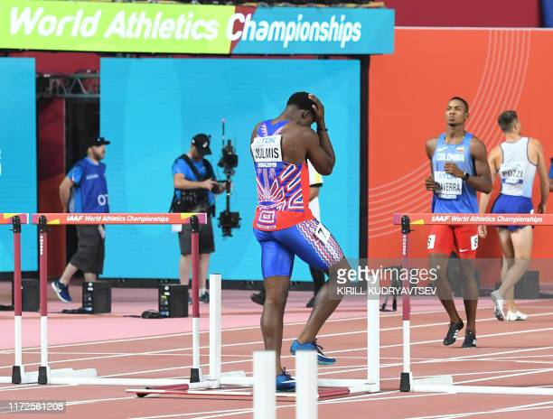 Haiti's Jeffrey Julmis reacts after being disqualified for a false start in the Men's 110m Hurdles heats at the 2019 IAAF Athletics World...