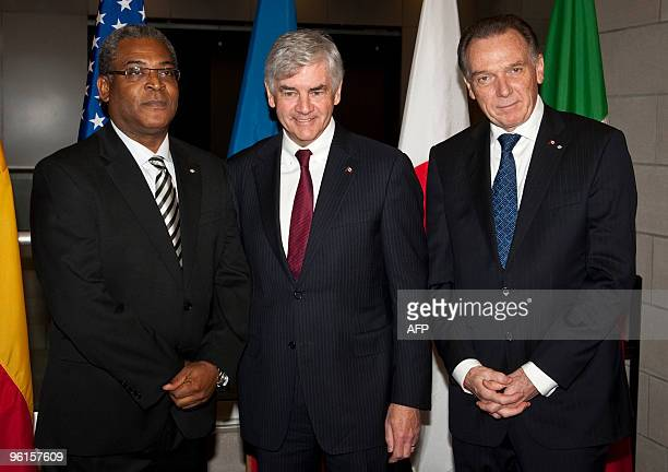 Haiti's prime minister JeanMax Bellerive Canada's minister of foreign affairs Lawrence Cannon and Peter Kent Minister of State for Foreign Affairs of...