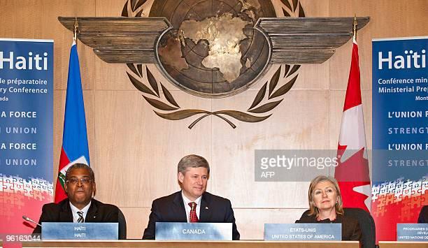 Haiti's Prime Minister JeanMax Bellerive Canada's Prime Minister Stephen Harper and US Secretary of State Hillary Clinton attend the Haiti...