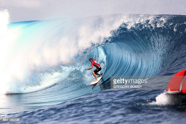 Haiwaii's John John Florence rides a wave during the finale of the 14th edition of the Billabong Pro Tahiti surf event part of the ASP world tour on...