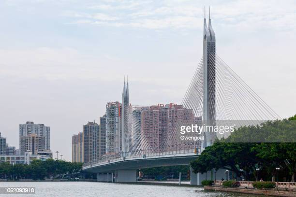 haiyin bridge in guangzhou - gwengoat stock pictures, royalty-free photos & images