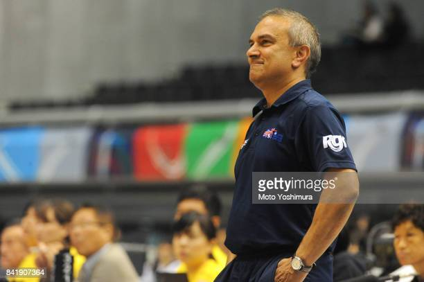 Haj Bhania Head coach of Great Britain looks on during the Wheelchair Basketball World Challenge Cup match between Great Britain and Japan at the...