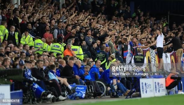 Hajduk Split fans during the UEFA Europa League PlayOff First Leg match at Goodison Park Liverpool