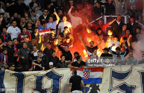 Hajduk Split fans with flares in the stands