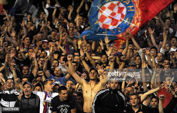 Hajduk Split supporters during the Croatian Cup Final Second Leg match between NK Lokomotiva Zagreb and HNK Hajduk Split held on May 22 2013 at the...