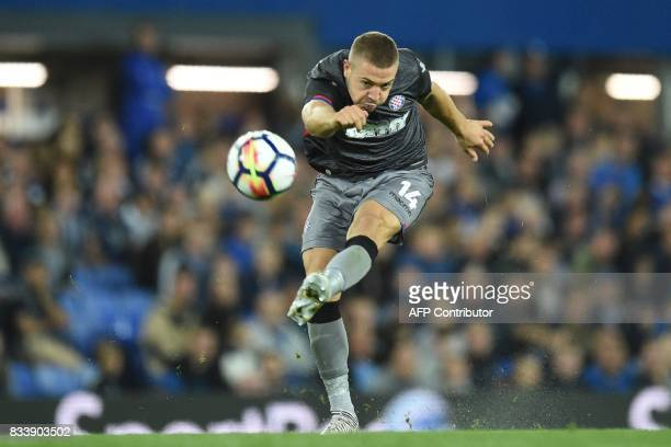 TOPSHOT Hajduk Split's Croatian midfielder Josip Radosevic has an unsuccessful shot during the UEFA Europa League playoff round first leg football...