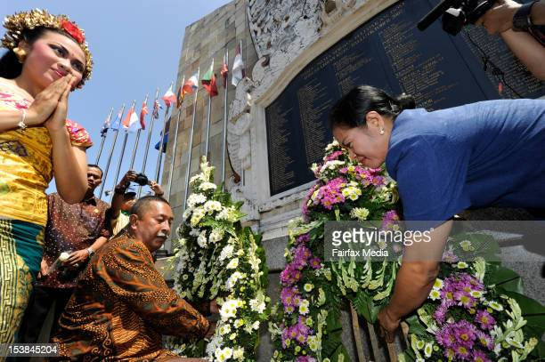 Haji Bambang lays a wreath at the Bali Bombing memorial in Jalan Legian, Bali, Indonesia, October 9 2012. He was one of the first people to arrive at...