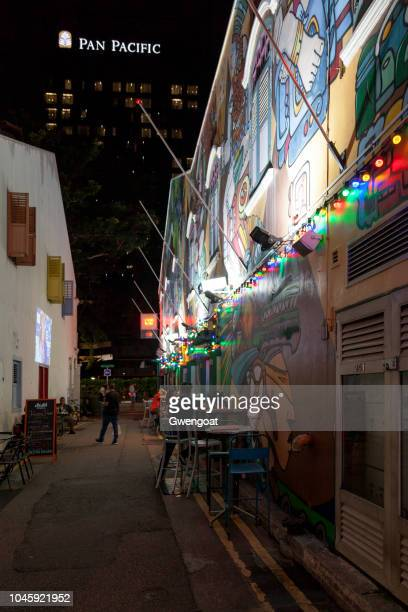 haji lane by night in singapore - gwengoat stock pictures, royalty-free photos & images