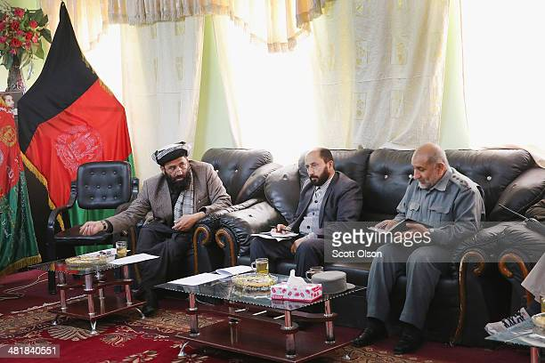 Haji Niyaz Mohammad Amirii , provincial governor of Logar Province, speaks during a shura at Forward Operating Base Maiwand hosted by Brigadier...